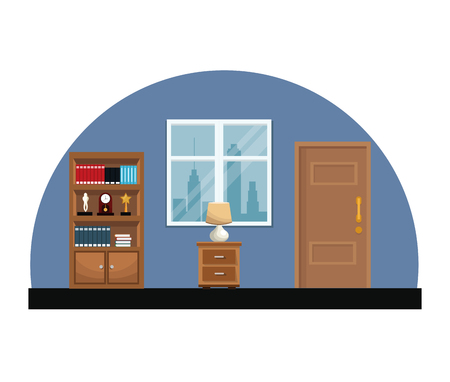 computer education: Room interior bookshelf encyclopedia clock trophy vector illustration Illustration