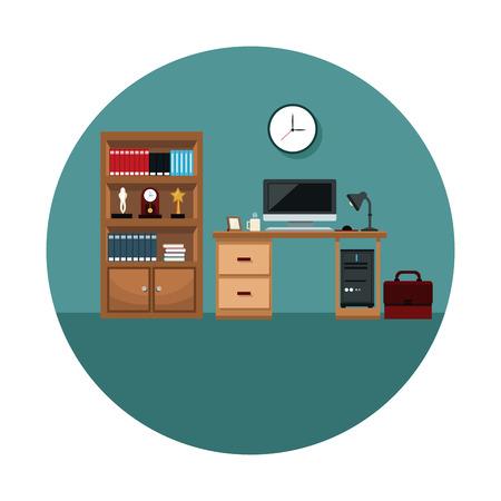 Bureau, espace, intérieur, bureau, ordinateur, lampe, café, tasse, horloge, serviette, livre, illustration vectorielle
