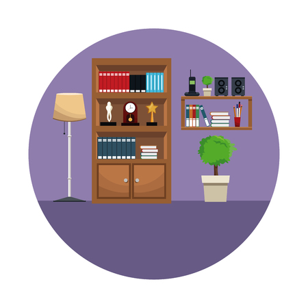 porch: Bookshelf encyclopedia award clock shelf telephone radio plant floor lamp vector illustration Illustration
