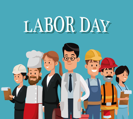 labor day card with people occupation difference vector illustration