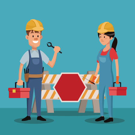 overall: couple people worker construction uniform tools labor day vector illustration