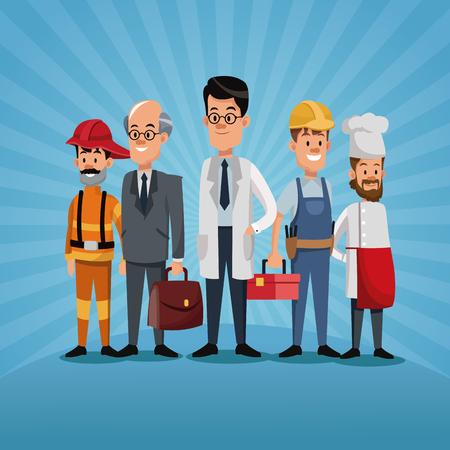 mannen groep verschillen beroep arbeiders werkdag vector illustratie