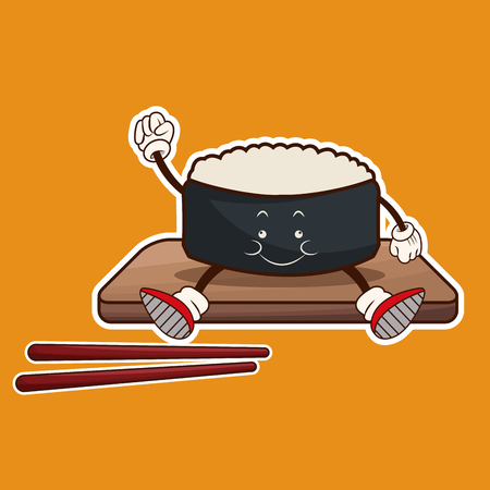 kawaii roll sushi oriental food wooden plate chop sticks vector illustration