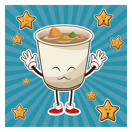 spicy mascot: kawaii jsoup ramen apanese food funny character vector illustration