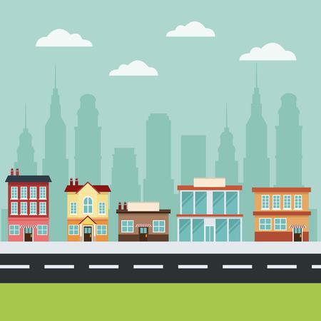 建物メイン通り都市商業都市景観ベクトル図