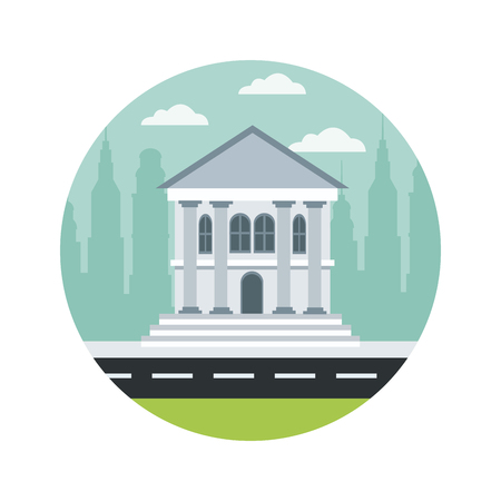 bank building architecture traditional column street city vector illustration