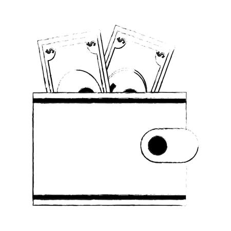 change purse: Wallet with dollar bills icon image vector illustration design  black sketch line