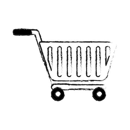 쇼핑 카트 아이콘 이미지 벡터 일러스트 레이 션 디자인 검은 스케치 라인