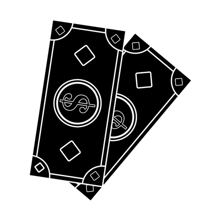 Cash money icon vector illustration design  inverted black and white
