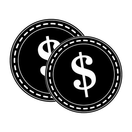 inverted: dollar coin icon image vector illustration design  inverted black and white Illustration