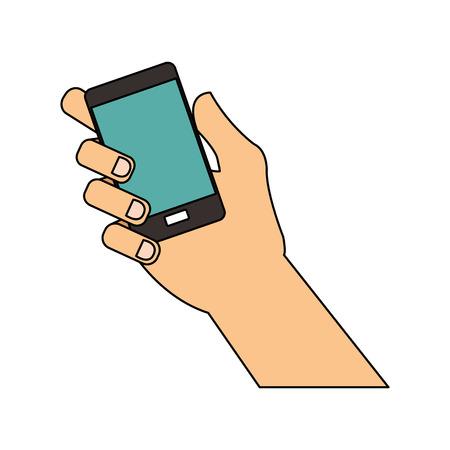hand holding phone icon image vector illustration design Illustration