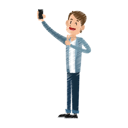 Man posing for picture phone icon image vector illustration design.