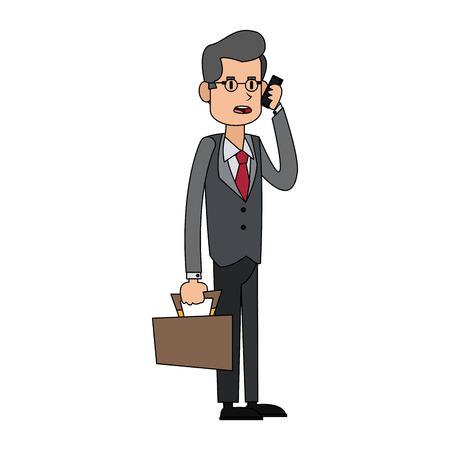 Businessman using phone icon image vector illustration design.
