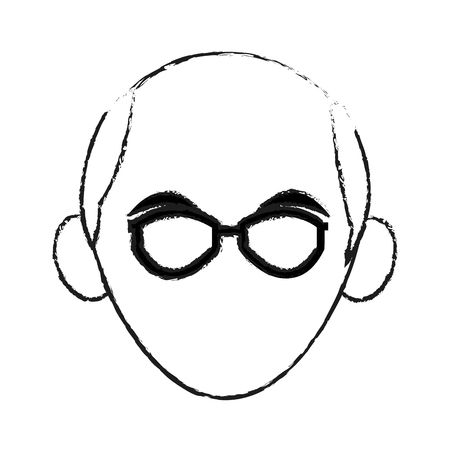 facial features: faceless elderly man with glasses icon image vector illustration design