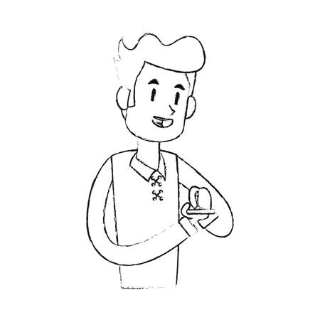 Man texting on phone icon image vector illustration design Illustration