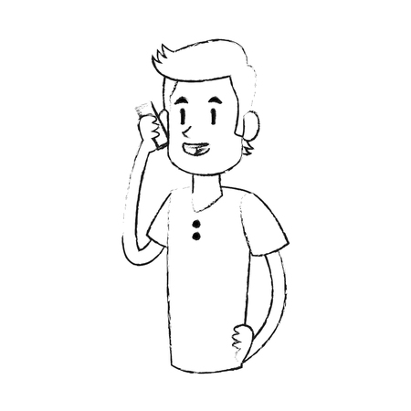 Man talking on the phone icon image vector illustration design Illustration