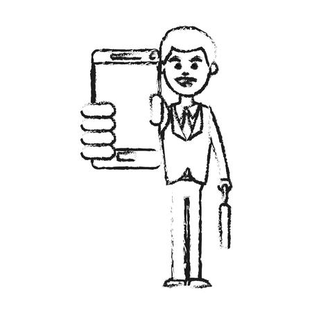 Businessman using phone icon image vector illustration design Illustration