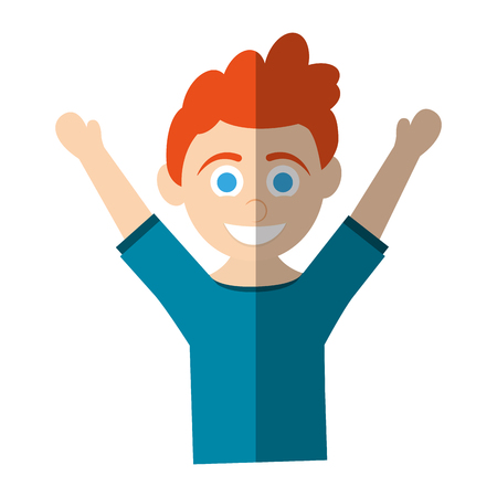 ginger hair: happy smiling blue eye red hair boy raising arms icon image vector illustration design