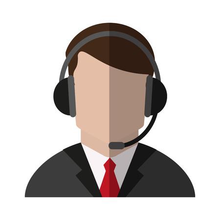 faceless man wearing headset icon image vector illustration design