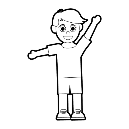 happy smiling boy with stretched arms icon image vector illustration design 矢量图像