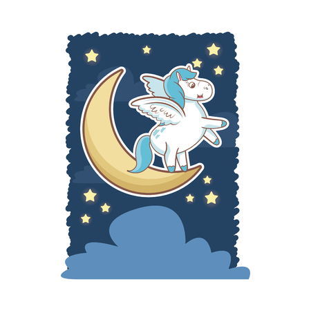 Unicorn magical horse pony wings with moon star cloud card vector illustration