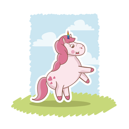 fairy: cute pink unicorn baby character grass sky vector illustration