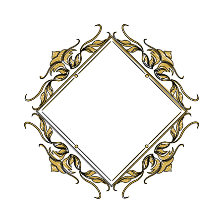 vintage frame geometric decoration heraldry blank vector illustration Illustration