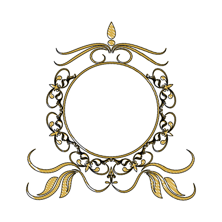 vintage round swirl flourish decoration frame royal image vector illustration Illustration