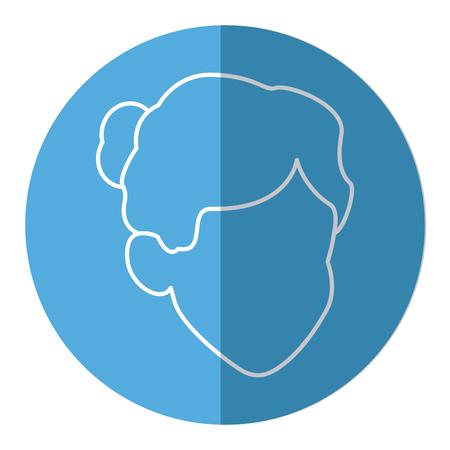 man profile: cartoon face woman girl female line image vector illustration Illustration