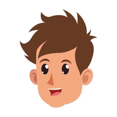 character face head boy happy vector illustration