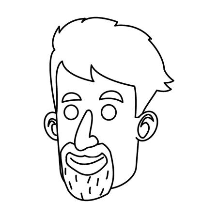 haircut: avatar face man beard mustache outline vector illustration