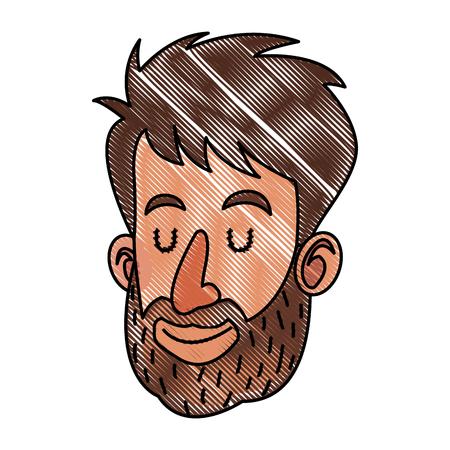 drawing face man beard close eyes vector illustration