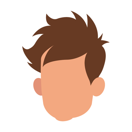 haircut: Head faceless male young hair style vector illustration