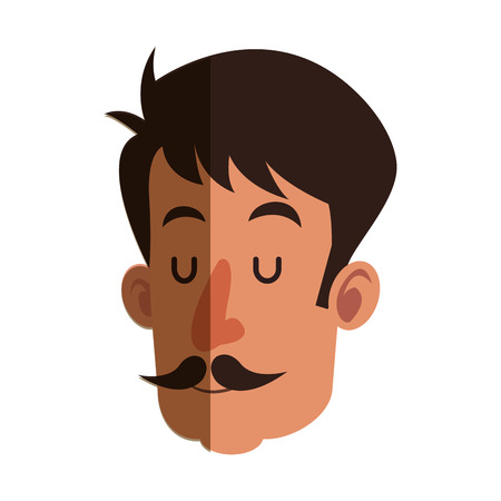 eye close up: head man with mustache close eyes shadow vector illustration
