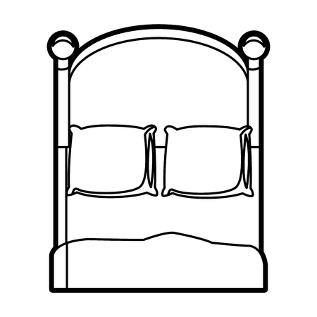 bunkbed: bedroom two pillow blanket wooden image outline vector illustration