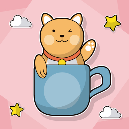 cat with coffee cup decoration cloud star vector illustration Illustration