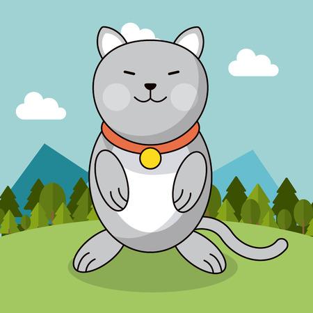 schattige kat met kraag schattig landschap natuurlijke vector illustratie