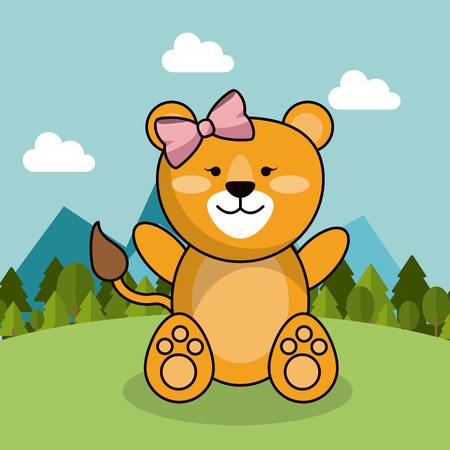 gir: cute lion girl bow adorable landscape natural vector illustration
