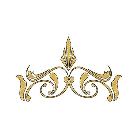 golden crest decoration elegant vignette image vector illustration Illustration
