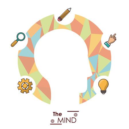 the mind head silhouette idea creativity work mentallity abstract vector illustration