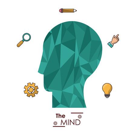 thinking machines: the mind human head abstract creative idea innovation vector illustration