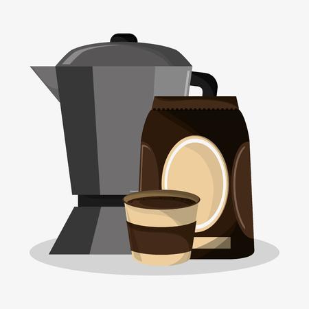 set metallic jar and bag of coffee vector illustration Illustration