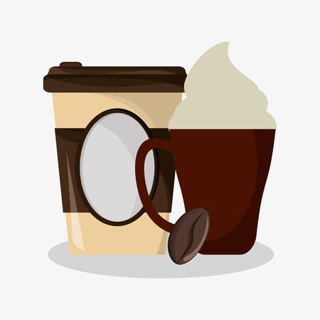 kopje capuccino met room en glas voor warme dranken en graan koffie vectorillustratie