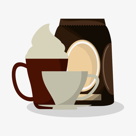 cup of capuccino with cream and bag of coffee with porcelain cup vector illustration Illustration