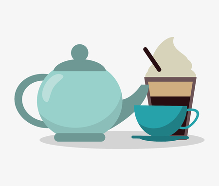 cappucino: porcelain tea kettle with cup of coffee and glass disponsable of cappucino with cream vector illustration