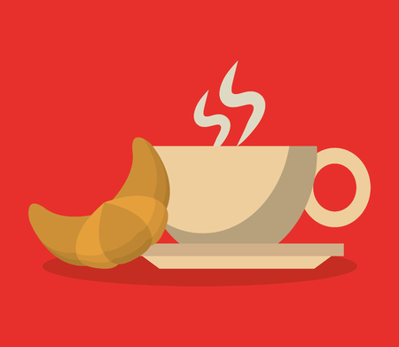 buttery: background porcelain cup of coffee in crockery with croissant vector illustration Illustration