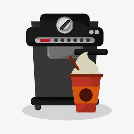 cappucino: coffee espresso machine and glass   of cappuccino with cream vector illustration