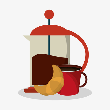 bread maker: set coffee grinding jar with crank and mug of coffee with croissant vector illustration