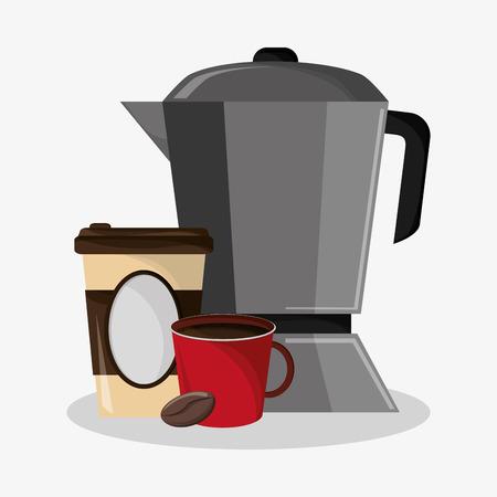 set metallic jar and porcelain mug with glass disponsable for coffee vector illustration