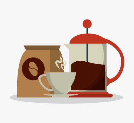 set coffee grinding jar with crank and mug with packaking of coffee vector illustration